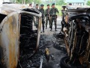 Akibat kerusuhan di Lapas Langkat sejumlah ruangan rusak, tiga mobil dan 13 sepeda motor petugas hangus terbakar, 154 narapidana melarikan diri, 103 di antaranya berhasil ditangkap dan menyerahkan diri. (ANTARA FOTO/Irsan Mulyadi)